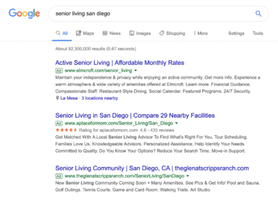 drive traffic to your senior living site using paid search